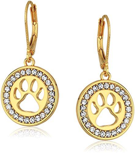 Pet Friends Goldtone/Crystal Paw Drop Earrings, Gold