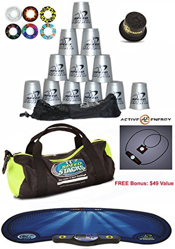 Speed Stacks Custom Combo Set - The Works: 12 SILVER Cups, Cup Keeper, Carry Bag, Pro Timer, Gen3 Mat, 6 Snap Tops & Gear Bag + FREE Bonus: Active Energy Power Balance Necklace $49 Free