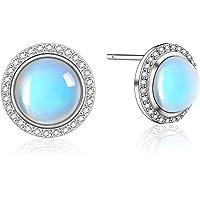 Moonstone Earrings Rainbow Round Moonstone Studs Earrings for Women 925 Sterling Silver Hypoallergenic Earrings For…