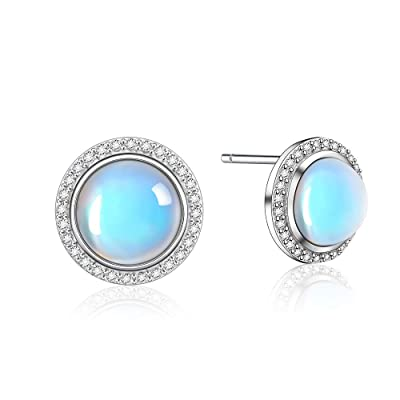 Sterling silver rainbow moonstone pendant cabochon stone round 5 mm gift box