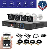 Pripaso 4PCS CCTV Security 720P AHD Camera DIY Kit Video Surveillance System (NO HDD)