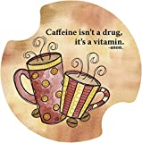 Thirstystone Caffeine is a Vitamin Car Cup Holder Coaster, 2-Pack