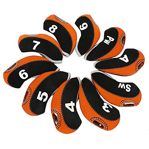 wosofe Golf Iron Covers Set for Club Mens Elasticity Protable Selections 10pcs/lot (Lime)