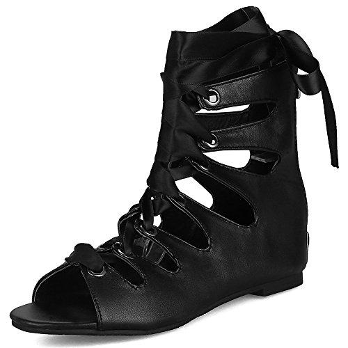 decoración DecoStain para mujer pimienta negro hebilla puntera diseño fino de Sandalias de roma 5 para talón con con PqCwP4r