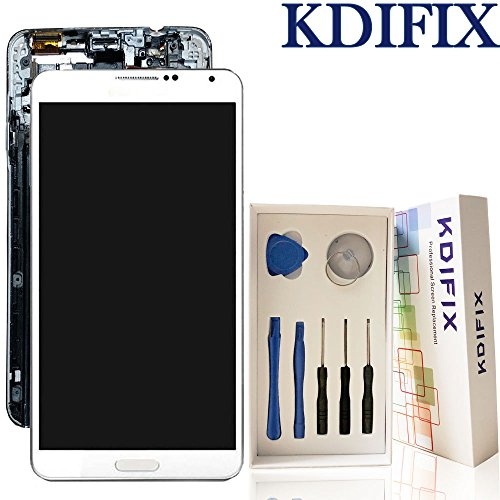 KDIFIX For Samsung Galaxy Note 3 N9000 N9005 SM-N900 LCD Touch Screen Assembly + Frame with Full Professional Repair Tools kit (WHITE+FRAME) by KDIFIX
