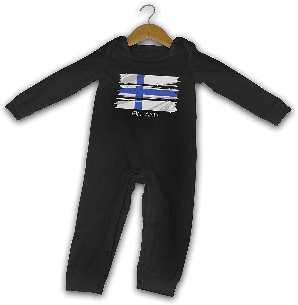 YELTY6F Finnish Proud Patriotic Flag Printed Newborn Baby Boy Girl Bodysuit Long Sleeve Rompers Black
