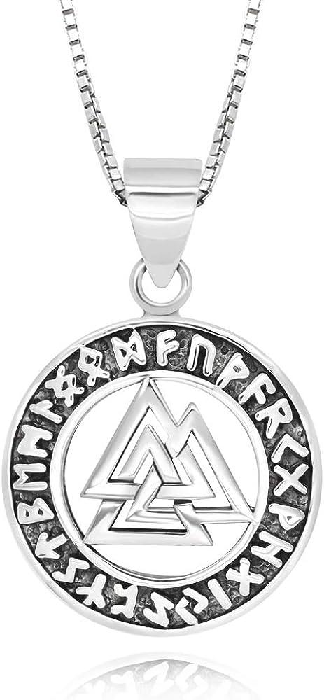 Amazon Com 925 Sterling Silver Valknut Viking Knot Norse Runes Odin Pendant Necklace 18 Jewelry