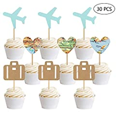The airplane cake toppers kit are made of quality paper and toothpicks which are safe for use. They are great birthday cake toppers, wedding travel themed cake toppers to make the cake looks much more different. The cupcake picks are perfect ...