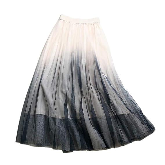 LaoZanA Mujer Falda Tul Cintura Elástica Midi Faldas Plisada ...