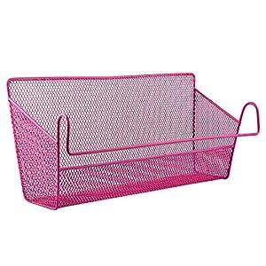 VIPASNAM-Dormitory Bedside Hanging Storage Desktop Shelves Basket Holder Container Pink