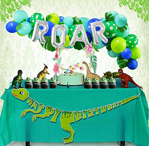 Dinosaur Party Decorations Dinosaur Balloons Garland ROAR Balloon Dino Happy Birthday Banner Tropical Palm Leaves Imitation Leaf Green