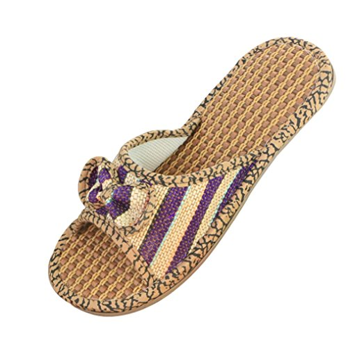 Cattior Womens Bow Flax Summer Slippers Outdoor Slippers Purple 25Mnn1