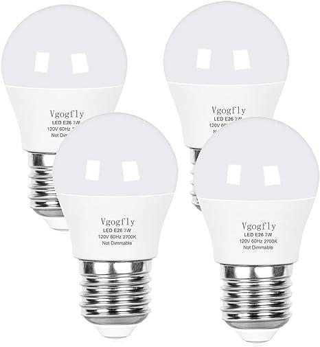 Led Bulb 3w 25 Watt Equivalent Light Bulbs Night Stand Bulb Table Lamp Bulb Warm White 2700k Led Energy Saving E26 Medium Screw Base For Home Light Bulb 4 Pack Amazon Com