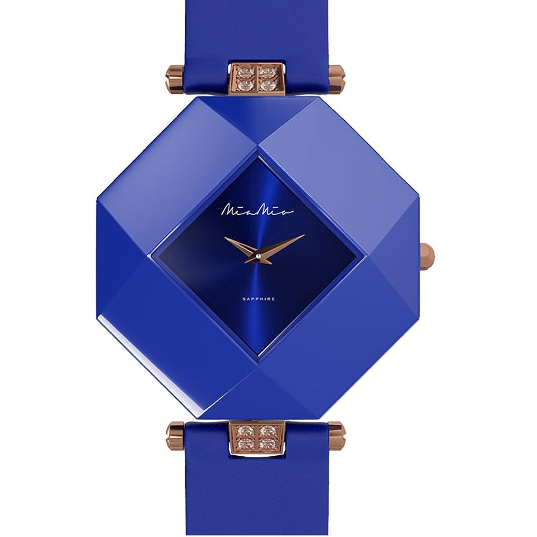Mia-Mio Leder Blau Keramik Swiss Quartz Rose Gold Saphir Kristall PRECIOSA Damen Uhr