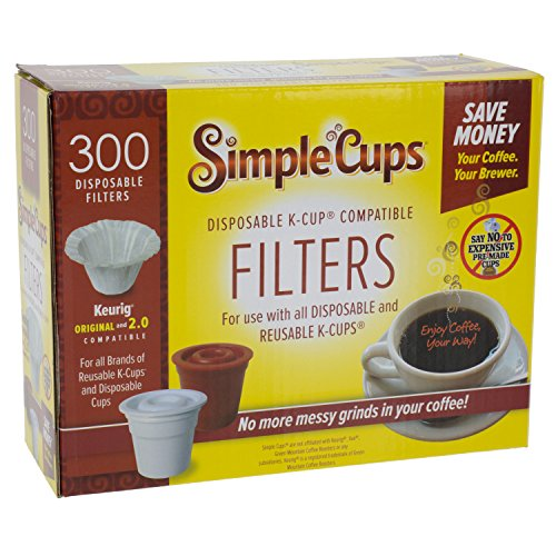 Disposable Filters for Use in Keurig® Brewers - Simple Cups - 300 Replacement Filters - Use Your Own Coffee in K-cups