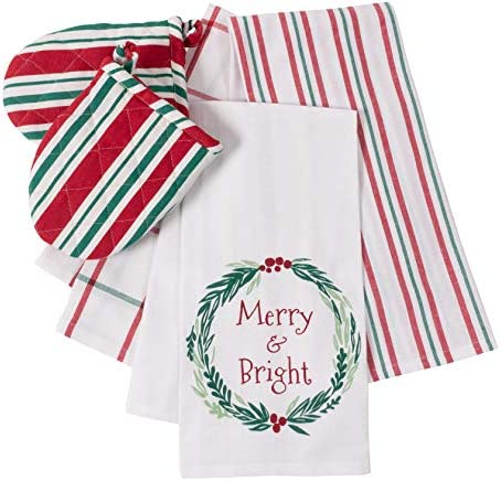 Kaf Home Set Of 5 Holiday Kitchen Linen Set 3 Kitchen Towels 18 X 28 Inches 2 Mini Oven Mitts Perfect Decoration For Holidays Great Housewarming Merry And Bright Chilehuerta Cl