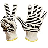 EzBuddy Oven Gloves - Withstand Heat up to 662°F - Heavy Duty Barbeque Gloves - Premium Quality Oven Gloves Insulated by Aramid and Made With Nomex & Kevlar - Same Materials Used By Fire Fighters For Maximum Safety & Protection - Can be use as Oven Mitts, Potholders or Handling Hot Objects With Ease & Comfort - Maximum Grip With Silicone Grips On Both Sides - Best Heavy Duty Gloves.