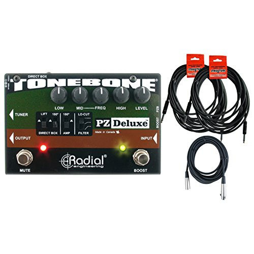 Radial Engineering ToneBone PZ-Deluxe Acoustic Instrument Preamp w/Boost w/ 3 Cables