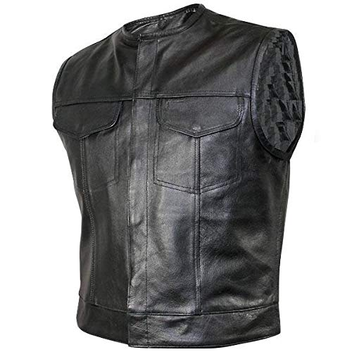 - Bikers Leather - SOA Men's Concealed carry Collarless Premium Leather Biker Outlaw MC Club Vest - Large