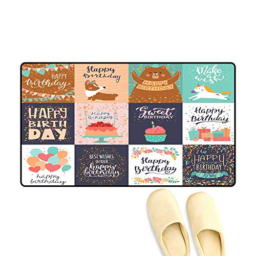 - doormatHappy Birthday Card Vector Anniversary Greeting Postcard with Lettering and Kids Birth Party Invitation with Cake or Gifts Illustration Set of Childs Postal Cards for Typography Outdoor doorma