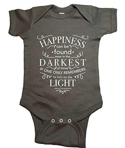 (Ilion Clothing Co. Harry Potter Baby One Piece Dumbledore Happiness Bodysuit (12 Months, Charcoal))