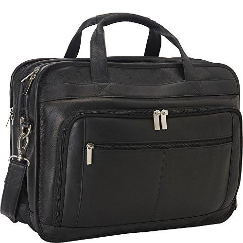 Le Donne Leather TR-1012-BL Oversized Laptop Brief, Black