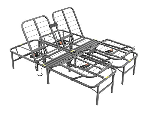 Pragma Bed Pragmatic Adjustable Bed Frame, Head and Foot, Queen, Gray
