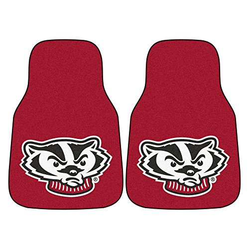 FANMATS NCAA University of Wisconsin Badgers Nylon Face Carpet Car Mat (Wisconsin Carpet Badgers)