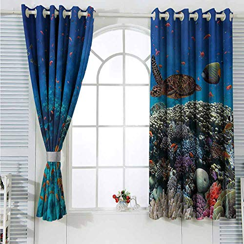 L'sWOW Bedroom Curtains Fish,Tropical Turtle Water Curtain 2 Panel Combination Set  W55 x L72 inches