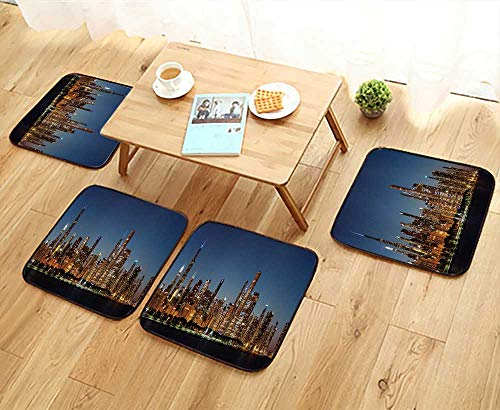UHOO2018 Fillet Chair Cushion Chicago Downtown City Skyline at Night and Michigan Lake Shore Drive Suitable for The Chair W13.5 x L13.5/4PCS Set (Best Seats At Michigan Stadium)