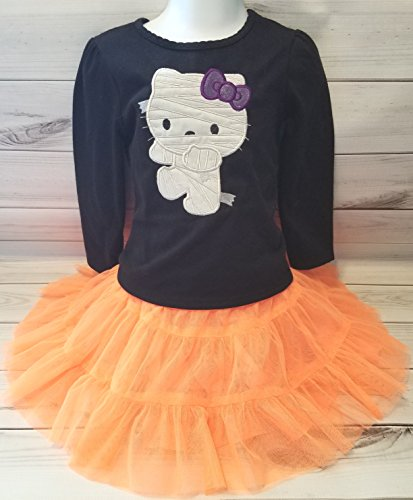 Girl Kitty Halloween Shirt Mummy Bandage Zombie Glow Dark & orange tulle skirt 2T READY TO SHIP]()