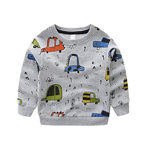 NWAD Boys Car Sweatshirts Light Weight Little Boy Clothes Organic Cotton Crewneck Clothing Long Sleeve Tops (Car Grey, M(5)) by NWAD (Image #1)
