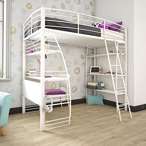 DHP 4016129 Studio Twin Loft Integrated Desk and Shelves, White Bed, (Loft Desk Bed White)