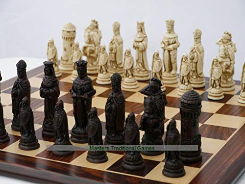 Berkeley Camelot Ornamental Chess Set (Cream and Brown, Board Not Included)
