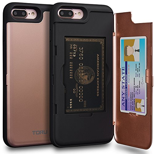 TORU CX PRO iPhone 8 Plus Wallet Case Pink with Hidden ID Slot Credit Card Holder Hard Cover & Mirror for iPhone 8 Plus / iPhone 7 Plus - Rose Gold