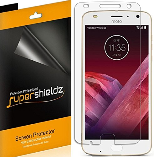 [6-Pack] Supershieldz for Motorola Moto Z2 Play Screen Protector, Anti-Bubble High Definition Clear Shield + Lifetime Replacements Warranty- Retail Packaging