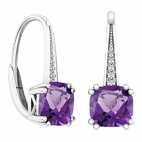 14K White Gold Cushion Cut Amethyst & Round Cut White Diamond Ladies Dangling Drop Earrings