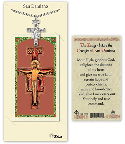 Pewter San Damiano Crucifix Medal with Laminated Holy Prayer ()