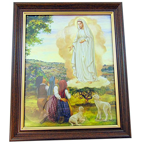 Our Lady of Fatima Framed Print in a Wooden Frame 12 Inch by CB Catholic