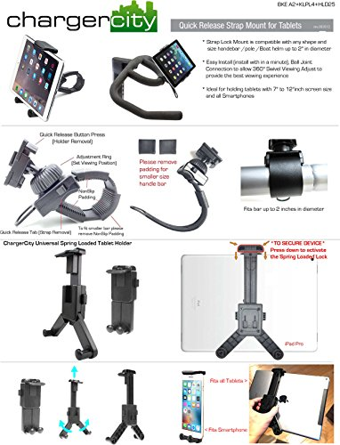 ChargerCity HDX2 Strap-Lock Mount for Bicycle Treadmill Exercise Spin Bike Helm Handlebar w/ Tablet & Smartphone Holder for Apple iPad Mini Air PRO iPhone 7 Plus Samsung Galaxy Tab S7 Edge LG G5 V20