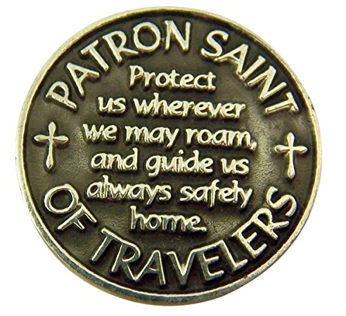 Silver and Black Tone Patron of Travelers Saint Christopher Devotional Prayer Token, 1 1/8 Inch by Religious Gifts (Image #2)