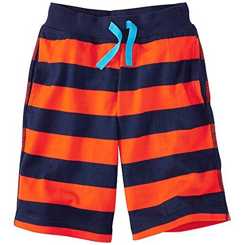 Hanna Andersson Baby Heavy Jersey Striped Shorts, Size 90 (36 Months), Sunburst Orange/Navy