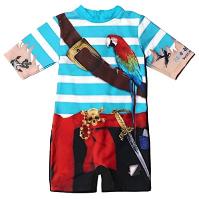 Bluesalt Beachwear Boys Pirate Rash Suit with Free Matching Swim cap