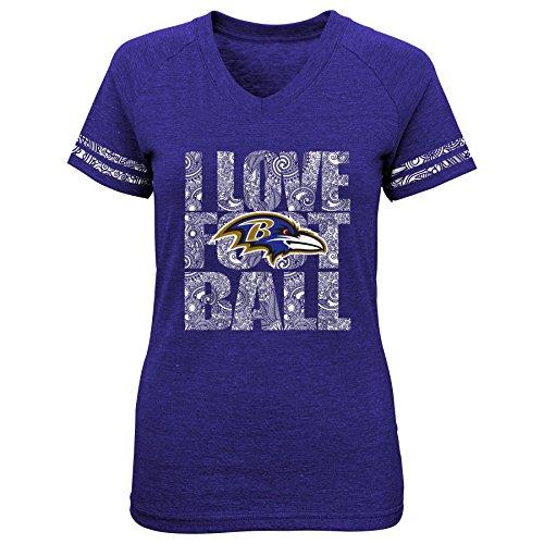NFL Juniors' Baltimore Team Love Triblend V-Neck Tee, Large, Ravens Purple
