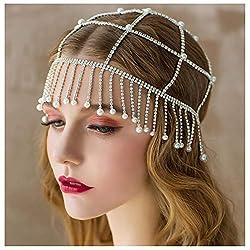 Rhinestone Beaded 1920s Silver Flapper Headpiece