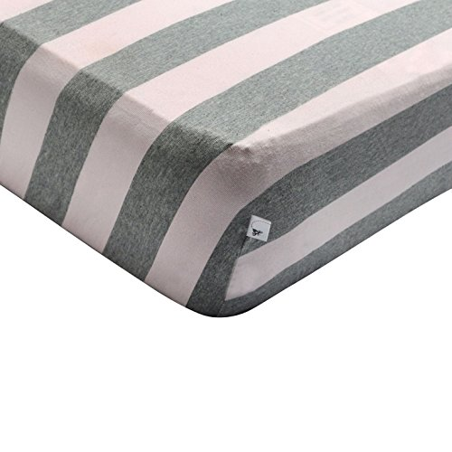 Easy Crib (Burt's Bees Baby - Bold Stripe Fitted Crib Sheet, 100% Organic Crib Sheet for Standard Crib and Toddler Mattresses (Blossom))