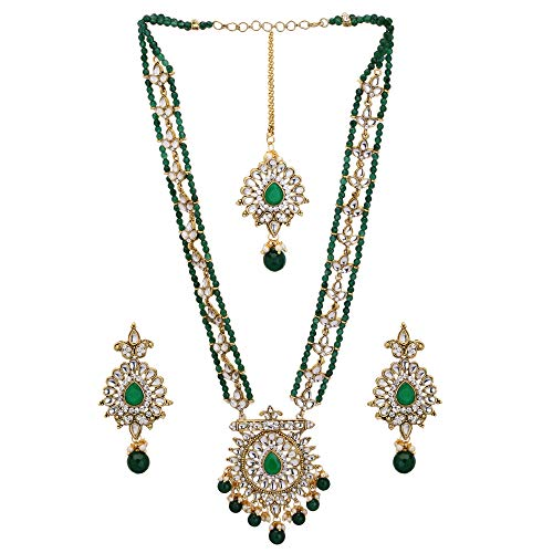 Jwellmart Indian Diva Collection CZ Faux Pearl Beaded Rani Haar Necklace Jewelry Set for Women and Girls (Green)