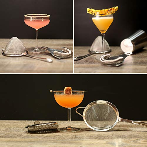 Cocktail Strainer Set: Stainless Steel Hawthorne Strainer, Julep Strainer and Conical Fine-Mesh Strainer by Top Shelf Bar Supply by Top Shelf Bar Supply (Image #6)