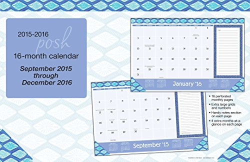 Posh: Indigo 2015-2016 16-Month Desk Pad Calendar: September 2015 through December 2016