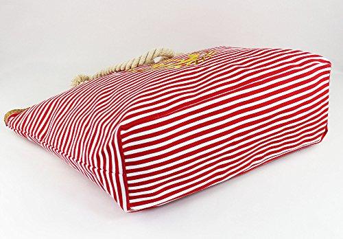 Rosso zip spiaggia con 18 ANGELINA shopper chiusura spiaggia 003 da grande Borsa stile xqZYp7wH